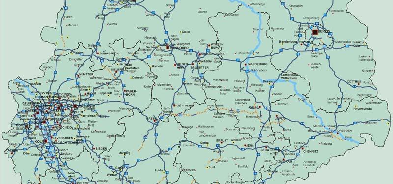 Landkarte Deutschland Deutschlandkarte Mit Wichtigen Strassen Auf